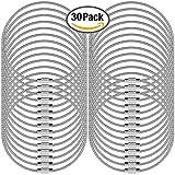 """30 PC Llaveros de alambre, SENHAI 5.2 """"/ 13cm Anillo 2mm Cable Loops Engranaje de acero inoxidable para colgar Etiqueta de equipaje, llaves y identificadores de etiquetas de identificación – plata"""