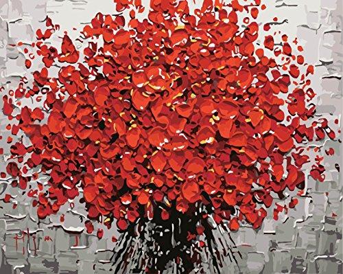 Golden maple DIY Vorgedruckt Leinwand-Ölgemälde Geschenk für Erwachsene Kinder Malen Nach Zahlen Kits Mit Holzrahmen Home Haus Dekor -Rote Blumen 40*50 cm