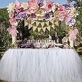 """Aytai Tutu Gonna da Tavolo Tulle Fatto a Mano Tovaglia per la Festa Nuziale Baby Shower Birthday Girl Princess Party Supplies Decorazioni 39.4 """"x31.5 (White)"""