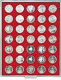 LINDNER Das Original Münzbox Standard mit 35 runden Vertiefungen für Münzen mit Ø32,5 mm, z.B. für deutsche 20 Euro- BZW. 10 Euro-Silbermünzen