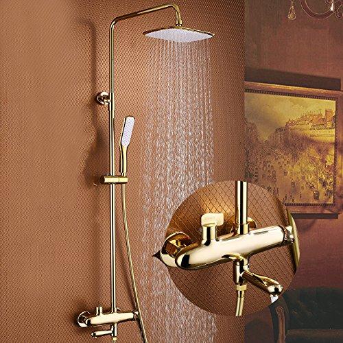 SUNDAY-QH Großer Regenschauer-Kopf-Hochdruckwassereinsparung-Edelstahl-Duschschirm Duschschlauch-Installationssatz,Yellow