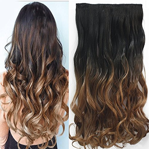 "Neverland Beauty 24"" (60 cm) extensiones de cabello cabeza clip en extensiones de pelo One Piece Ondulado with 5 clips #6"