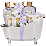Spa Luxetique Lavender Spa Bath Gift Set, Luxury 8pc Bath Gift Sets for Her, Pampering Bath Tub Gift Set Includes Shower Gel, Bubble Bath, Bath Bomb or More. Perfect Spa Gift Sets for Women.