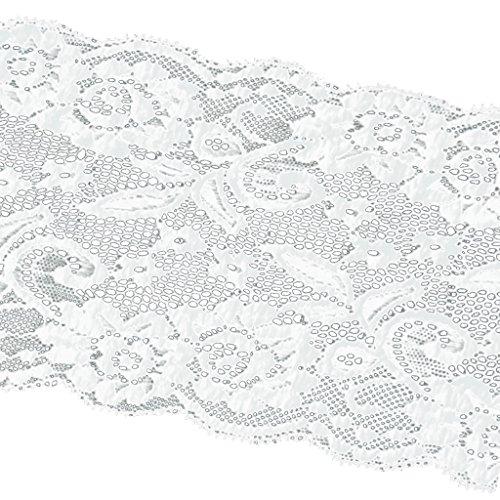 MagiDeal Breite/Schmale Spitzenborte DIY Nähen Applikation Handwerk Party Kleid Haarschmuck Hut Tasche Basteln Deko - Weiß, 15cm*455cm (Handwerks-taschen Weiße)
