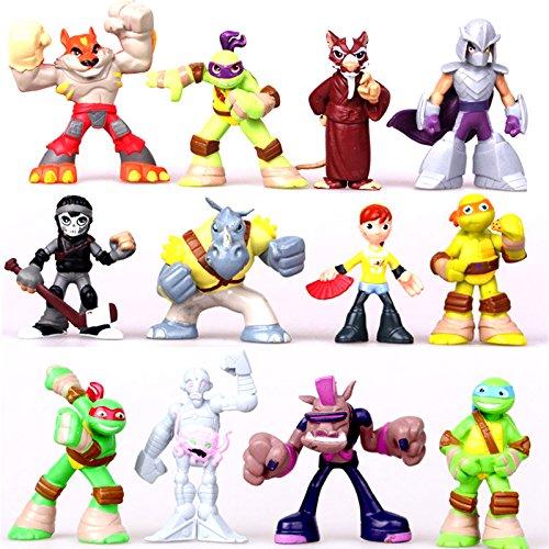 ONOGAL Die Ninja Turtles Figuren 12 Zeichen von 12 cm Donatello Raphael Michel Angelo Leonardo Splinter und andere Charaktere aus der Sammlung 4711
