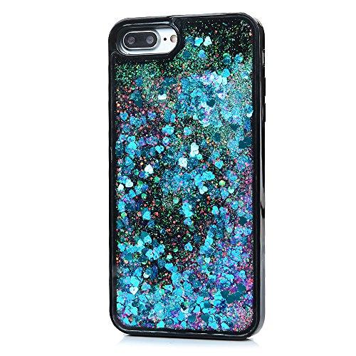 iPhone 7Plus case, Bling Quicksand Sparkle custodia ibrida elegante duro PC + morbido TPU telaio corsa glitter di forte protezione antiurto anti-polvere anti-graffio bumper custodia per iPhone 7Plus Blue