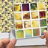 DXHH 18 STÜCKE Dekorativer Mosaikstil des Hintergrundes Fliesen Aufkleber Dekorative Aufkleber Kreative Rutschfeste Selbstklebende Wandtattoos Floor Sticke