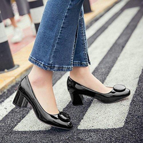 d6cc038e2eb5b7 ... TAOFFEN Damen Elegant Blockabsatz Schuhe Party Dress Pumps Schwarz ...