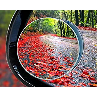 Blind Spot Mirrors, Round Frameless 360° Rotate Sway Adjustable HD Glass Convex Mirror Maximize RearView Universal for Car SUV Trucks Traffic Safety - Pack 2 (Silver)