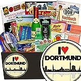 I love Dortmund | Spezialitätenset | Geschenkbox | I love Dortmund | INKL Markenbuch | Ostalgie Set | Geschenk Dortmund Frau | mit Schlagersüßtafel, Pfeffi Stangen und mehr
