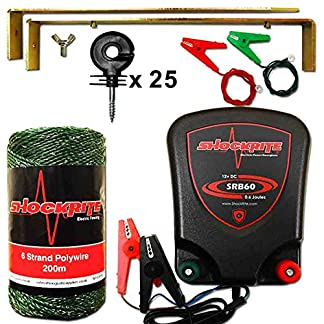 ShockRite Electric Fence 12v Energiser SRB60 0.6J Kit 200m Green Wire 25 Insulators 12