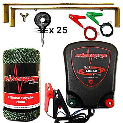 ShockRite Electric Fence 12v Energiser SRB60 0.6J Kit 200m Green Wire 25 Insulators 1