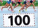 100 Startnummern Marathon, Papier classic-race, Format 20 x 14,5 cm (ca. DIN A5), nummeriert von Nummer 1