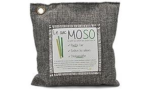 Le Sac MOSO (La Borsa MOSO) - Purificatore dell'aria, Deodorante, Deumidificatore, Naturale e Inodore - contiene il 100% Carbone di bambù - 500 Gr - Grigio