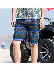 PZLL Pantalones del viento nacional Varonil de estilo chino en la playa de verano, suelta sección recta delgada, pantalones cortos de cintura, cinco pantalones secado rápido auge , blue , xl
