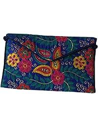 Shubhangi Women's Sling Bag (Jaipuri Embroidered Handicraft Traditional Sling Bags,Multi-Coloured,r32024-Blue)