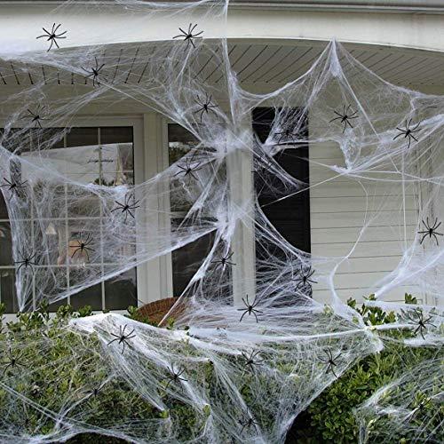 ZYEZI Halloween Dehnbare Spinnennetze, 300g Weißes Spinnennetz 100 STK. Kunststoff Schwarz Spinnenabdeckung 1000 Quadratfuß