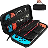 Nintendo Switch Case with 20 Game Cartridges, Protective Hard Shell Travel Carrying Case Pouch for Nintendo Switch Console & Accessories by Deruitu, Black