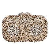 Bonjanvye Glitter Studded Chrysanthemum Clutches with Rhinestone Handbags for Women Gold
