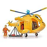 Simba 109251002 - Feuerwehrmann Sam Hubschrauber Wallaby II mit Tom Thomas Figur/ mit Licht und drehbarem Rotor/ mit Seilwinde/ 6 Sitzplätze/ mit Originalsound/ 34cm