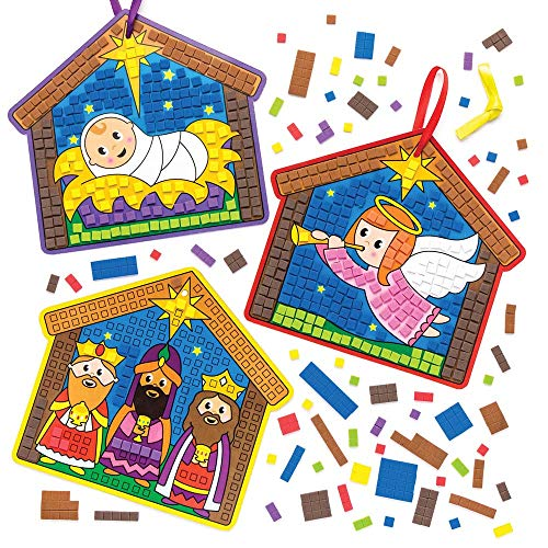 Baker Ross Nativity Mosaic Decoration Kits (Pack Of 4) For Kids Christmas Crafts And Decorations