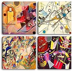Cuadros modernos de Kandinsky, 4piezas de 30x 30cada una.Impreso sobre lienzo, arte abstracto, XXL, para decorar el salón, dormitorio, cocina, oficina, bar o restaurante.