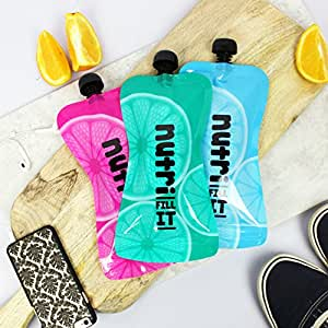 Nutri Fill-It Large Re-Usable Smoothie Pouches (pack of 6 pouches) for Adults and Children. The perfect accessory to your Nutri Bullet