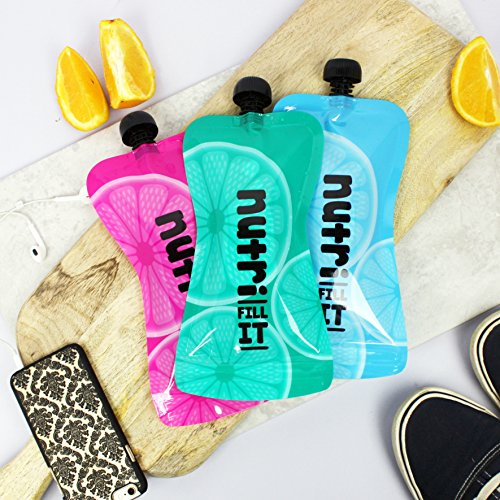 Nutri Fill-It Large Re-Usable Smoothie Pouches (pack of 6 pouches)...