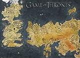 1art1 106545 Game of Thrones - Antike Landkarte Von Westeros Und Essos, Die Welten Von EIS Und Feuer Metallic Effekt Kunstdruck 70 x 50 cm