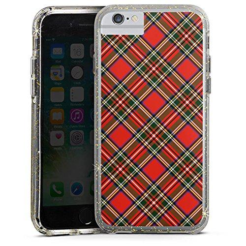 Apple iPhone 8 Bumper Hülle Bumper Case Glitzer Hülle Schotten Scottish Tartan Pattern Bumper Case Glitzer gold