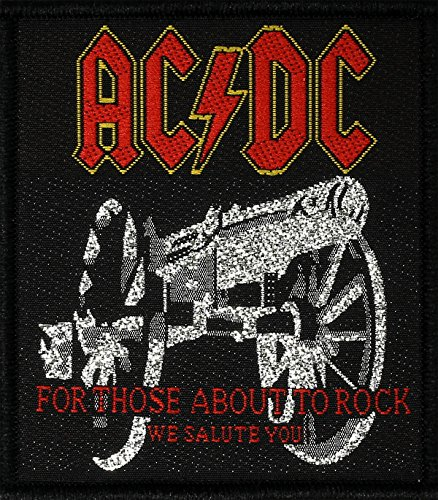 Preisvergleich Produktbild AC / DC Aufnäher FOR THOSE ABOUT TO ROCK - WE SALUTE YOU - Patch gewebt 7 x 8 cm