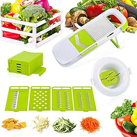 LYPULIGHT Mandolin Slicer, 5 Adjustable Blades Slices and Shreds Fruits and Vegetables Chopper, Food Container, Safety Food Holder, All-in-One Vegetable Cutter& Julienne Slicer Vegetable Slicer, Fruit and Cheese Cutter & Grater for Slicing, Dicing, Grating, Chopping, Cutting and