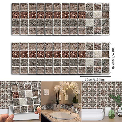 DIY Home Decor 2019,18pcs Selbstklebende Wasserdichte Schwarze Marmor Mosaik Wandkunst KüChe Fliesen Aufkleber ()