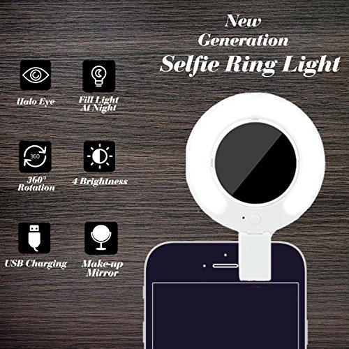 RECESKY selfie anello luce, luci video faretto LED con 360 ° di trucco dello specchio per iPhone 6S