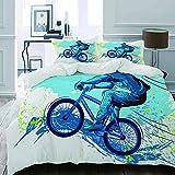 MIGAGA Parure de lit Adulte,Housse de Couette,BMX de Sportsman Cycling Extreme Vélo...