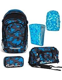 dcb7a98b13c30 Satch MATCH by Ergobag Blue Triangle 5-tlg. Set Schulrucksack + Sporttasche  + Schlamperbox inkl. Geodreieck + Heftebox Tripleflex Blau +…