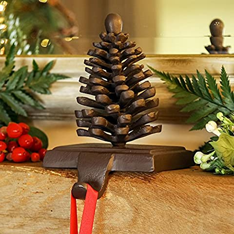 Pine Cone Cast Iron Christmas Stocking Holder Hanger - Luxury hard wearing 1.5kg shelf hook for traditional Christmas Stockings - unique piece of rustic houseware in antique brown - no more nails or screws in the wall or mantelpiece! - H14 x W16cm