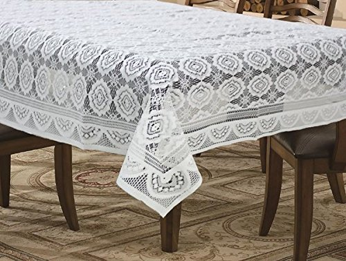 Griiham Table Cover, Polycotton, White - 4 Seater