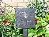 "Best Grandpa Grandmas - Slate plant marker - ""Grandma & Grandpa's Garden Review"