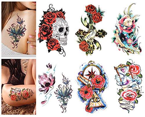 Luxspire tatuaggi temporanei, [6 pezzi] tatuaggi finti adesivi impermeabili per adulti bambini donne uomini - fiori