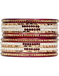 Dulari Square & Round Stone Embellished Lac Round Ethnic Bangles For Women (Set Of 8 Bangles)(Colors Available)