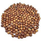 200Stück natur rund Holz Perlen, lose Perlen Natur Holz Spacer Perlen für Schmuckherstellung DIY Haar Dreadlock Dekoration (12mm)