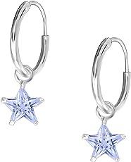 JAYARE Kinder Creolen Sterne 925 Sterling Silber Zirkonia 19 x 6 mm Mädchen Ohrringe im Geschenketui Stern Kreolen lila weiß schwarz pink