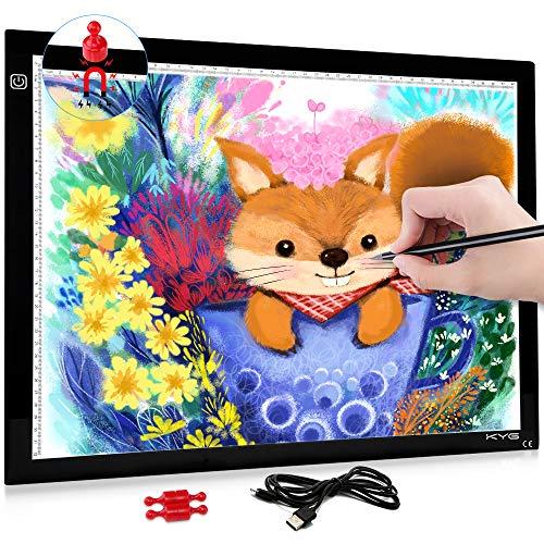 Magnetisch LED leuchttisch A3 Licht Pad einstellbare Helligkeit Lichtkasten Copy Board mit USB Kable Ideal für Designen Kopieren Zeichnen Skizzieren Animation [Energieklasse A+] -
