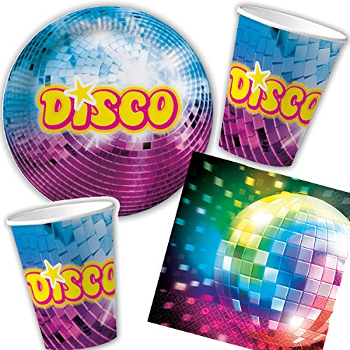 3-teiliges Party-Set * Disco * für Kindergeburtstag mit Teller + Becher + Servietten + Deko // Partygeschirr Kinder Geburtstag Party Mottoparty Motto ()