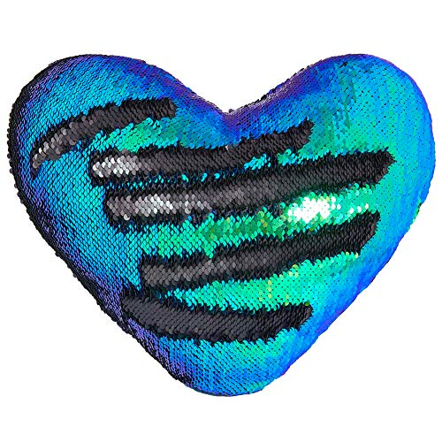 Meerjungfrau Wurf Kissen mit Insert, Play Tailor Reversible Sequins Kissen Herzform Dekorative Kissen (35 x 40cm, Schwarze Magie + Farbe grün) -