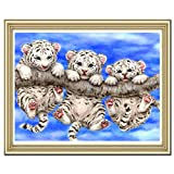 Wildlead DIY Home Wall Decoration Kit Diamond Painting Cross Stitch 3 Tigers Crystal Mosaic Pasted Embroidery Picture Paint Craft