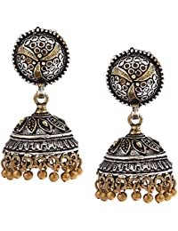 Chhayamoy Oxidised Small Lightweight Two Tone 2 Tone Dual Tone Gold Silver Exquisite Alloy Jhumka Jhumki Earrings
