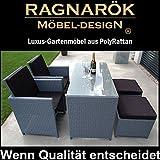 Ragnarök-Möbeldesign Gartenmöbel PolyRattan DEUTSCHE Marke - EIGENE Produktion 8 Jahre GARANTIE Essgruppe Tisch Stuhl + Hocker Möbel Balkon Set Grau