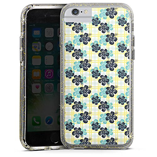 Apple iPhone 6s Bumper Hülle Bumper Case Glitzer Hülle Flowers Blumen Summer Bumper Case Glitzer gold